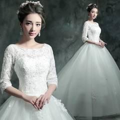長袖 ウエディングドレス 結婚式 大きいサイズ  ホワイトDC348