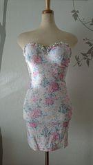 S ミニドレス Jewels ピンク 花柄 ベア タイト 新品 J16203