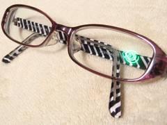 Zoffゾフ.セクシーでお洒落パープル系&サイド内側ゼブラ柄セルフレーム眼鏡.度入リ