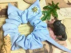 ハンドメイド*・゚雪の結晶飾り♪chic水色ネコモチーフシュシュ猫耳&シッポ