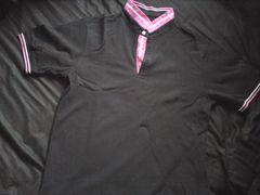 抗菌加工のポロシャツ ブラック×ピンク L
