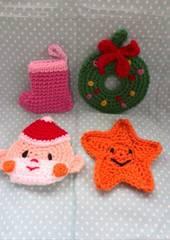 手編み★アクリルのエコタワシ★クリスマス4点セット
