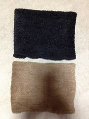 美品 2枚セット ボア フリース ネックウォーマー 黒色+ベージュ茶色 マフラー アウトドア山