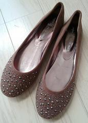 21〜21.5cm★スタッズバレエパンプス★ぺたんこ靴★ベージュ★新品