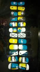 青×黄×白 ネイルチップ 24枚