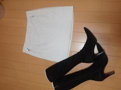 新品Pinky&Dianne/ラム革台形ミニスカート/WH