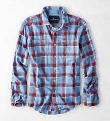 【American Eagle】Vintage AEOワークウェアプラッドシャツ  L/Blue