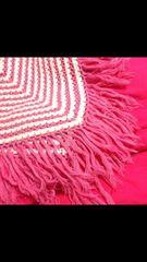 ピンク白ホワイト鍵編みニットポンチョ姫ボーダーボリューム萌え