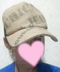 ブラウン★英字プリントキャップ帽子/サイズフリー美品寄り*格安