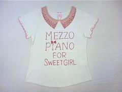 値下げ処分メゾピアノJrビジュー付お衿風プリント&でかロゴ半袖Tシャツ