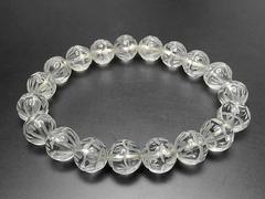 天然石3A水晶蓮華彫り約10mm数珠ブレスレット