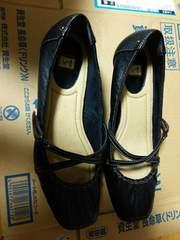 ingイング黒ブラックパンプス靴24センチ