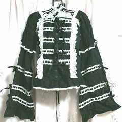 アンジェリックプリティ長袖半袖2WAY梯子レース編み上げ姫袖ブラウス美品ロリィタ