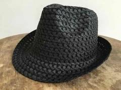 新品!即決! 中折れハット 黒 hat black