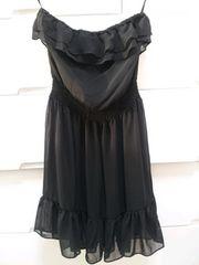 黒ブラックシフォンフリルベアミニワンピースドレスH&M