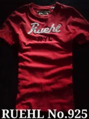 【RUEHL No.925】Vintage Destroyed アップリケロゴTシャツ L/Red