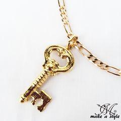 KEY キー 鍵 フィガロ チェーン 金592ゴールド GOLD ネックレス