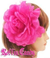 80$)大輪フラワーヘッドドレスチェリーピンクヘアアクセサリーウェディング髪飾り結婚式着物