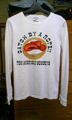 古着 プリント長袖Tシャツ ロンT Sサイズ 細身 白色×黒色 ロック カウボーイ
