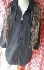 XL大きいサイズ七分袖薄手ジップパーカー黒