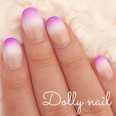みぢょ!ショートオーバル紫パープル&ホワイト2色グラデーション/ハロウィンカラー