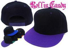 06b)カスタム自在!無地ベースボールキャップ黒紫野球帽B系ダンスダンサーヒップホップ