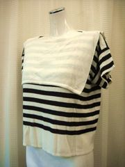 【Paserio】ゆったりしたマリンルックの半袖セーター