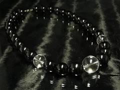 大特価!!本水晶クリスタルxブラックオニキス数珠ネックレス