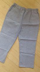 新品タグつき*綿混素材リラックス快適パンツ 3L ブルー細ボーダー