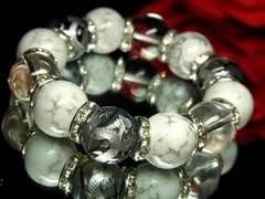 激売れ♪金彫皇帝龍XホワイトターコイズX本水晶数珠