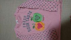 即決☆110�aピンクの袖が水玉長袖Tシャツ