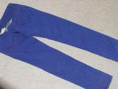 26インチ☆ウィング刺繍*鮮やかブルースキニーパンツ*デニム