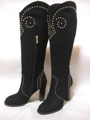 ブラック・ヌバック/革 10cmヒール ウエスタン系ブーツ 37