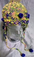 耳当て付き ニット帽 CA4LA 未使用品 透かし編み ボンボン付き