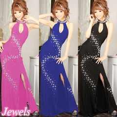 7号 ロングドレス Jewels ピンク ストレッチ 新品 J1505