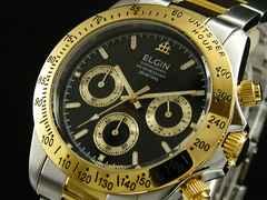 送料無料!エルジン ELGIN クロノグラフ 腕時計 FK1059TG-B