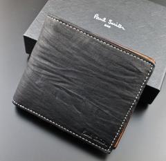 新品☆箱付 ポールスミス 人気シワ加工 二つ折り財布 黒 f75