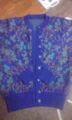 ブルー花柄カーディガン