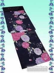 【和の志】変わり織り浴衣◇Fサイズ◇紺紫系・八重桜◇KWDF11