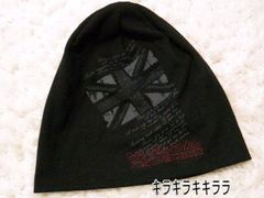 〓in the attic〓ロゴ刺繍★ユニオンジャック プリント*ニット帽ブラック
