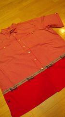 トリプル5ソウルデザインチェック半袖シャツ 赤系 サイズXL→XXL2XL位
