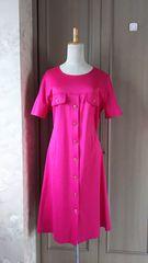 高級イタリア製半袖ロングワンピース★大きいサイズL〜LL濃ピンク