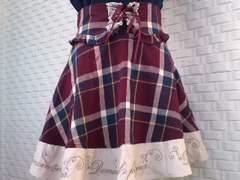 axespoetique裾刺繍入り チェック柄スカート