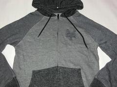 USA購入【ZOOYORK】ロゴ刺繍裏起毛フルジップパーカーUS S 灰2色