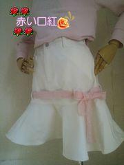 160�p〜*別珍素材のマーメイドスカート白
