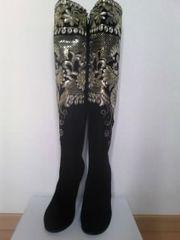 本革刺繍ロングブーツ