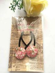 ハンドメイド ヘアゴム くるみボタン ツイン ピンク axes好き 花