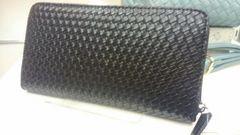 編み込み型押し ラウンド長財布 ブラック