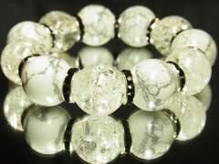 クールオラオラ系!!クラック水晶×ホワイトターコイズMIX数珠ブレスレット