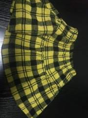 中古女の子用スカート(90�p)黄×黒チェック柄